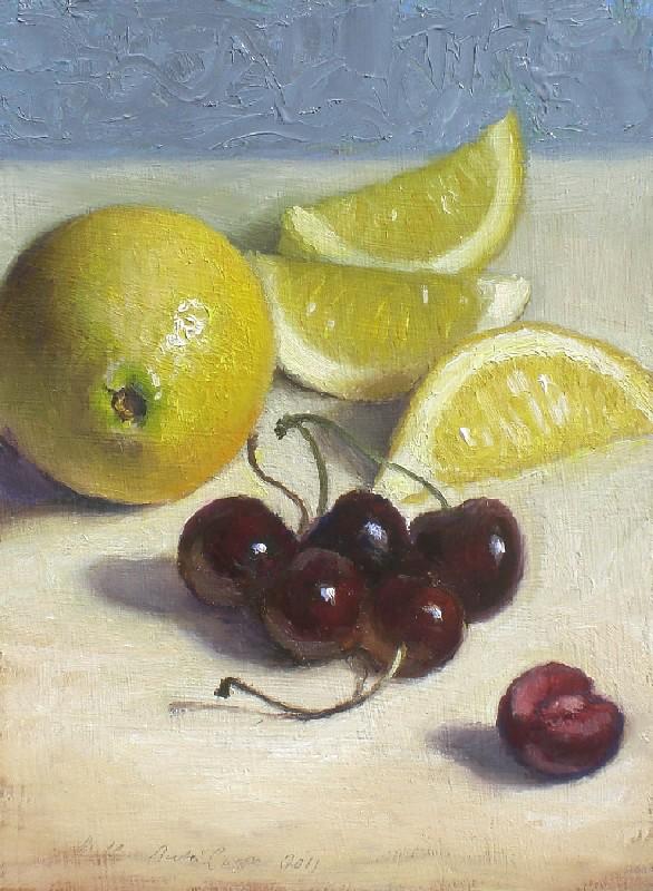 """Lemon and Cherries"" original fine art by Debra Becks Cooper"