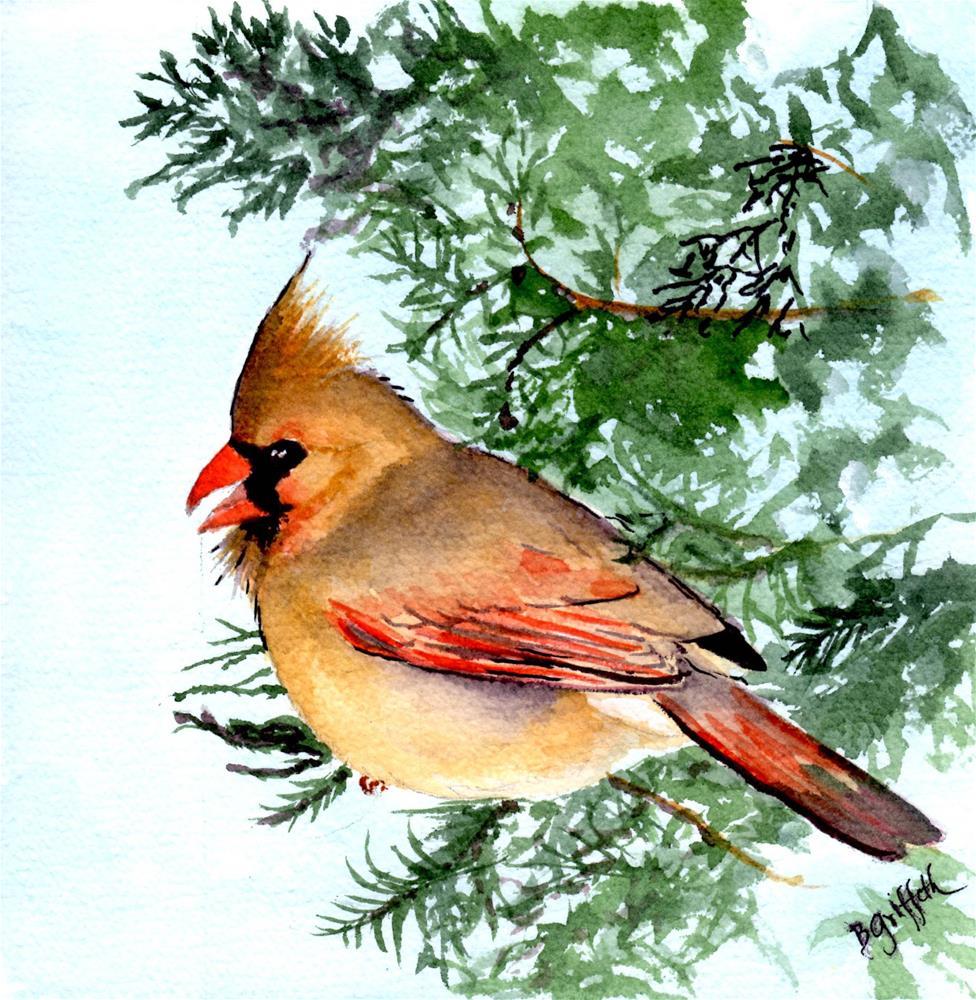 """Cardinal "" original fine art by Bunny Griffeth"