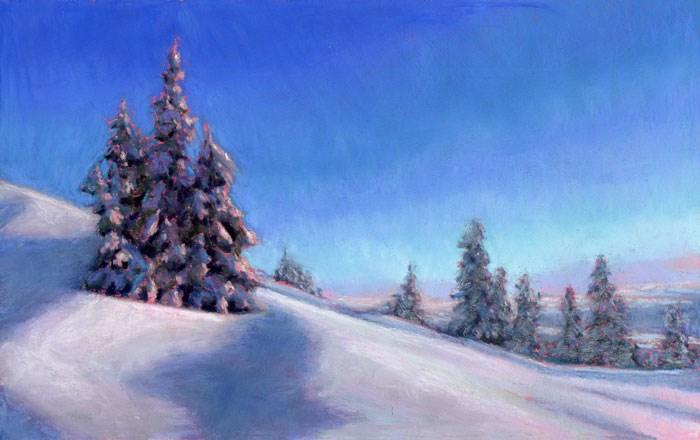 """Snow and Pines"" original fine art by Nancy Poucher"