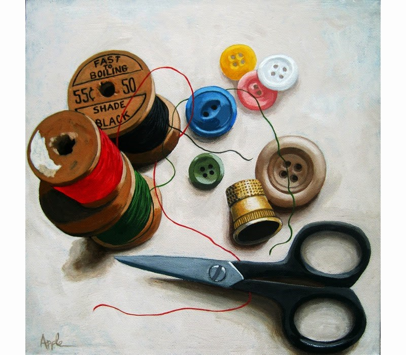 """Sewing Thread & Scissors still life realistic painting"" original fine art by Linda Apple"