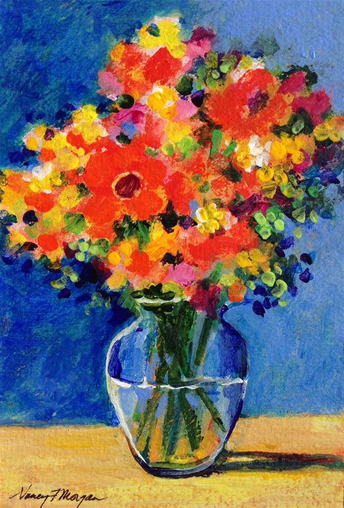 """Red Hot Blue"" original fine art by Nancy F. Morgan"