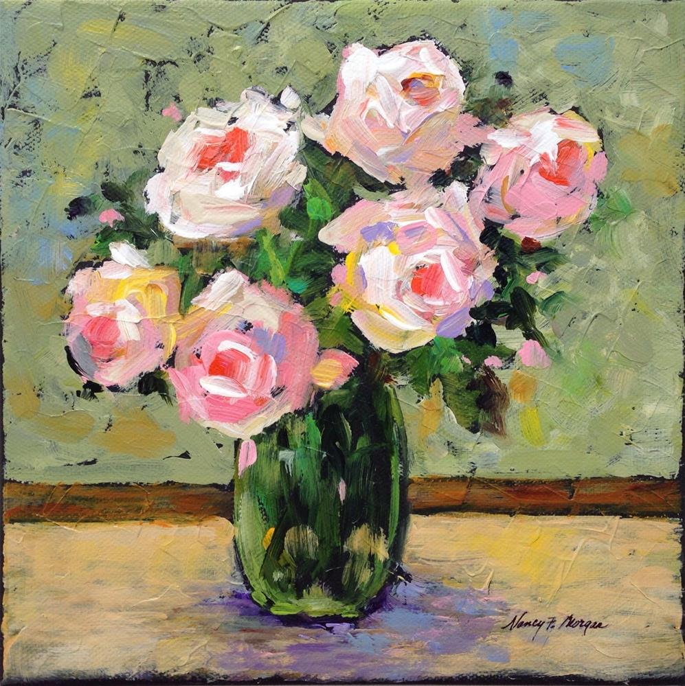 """Pink Roses"" original fine art by Nancy F. Morgan"