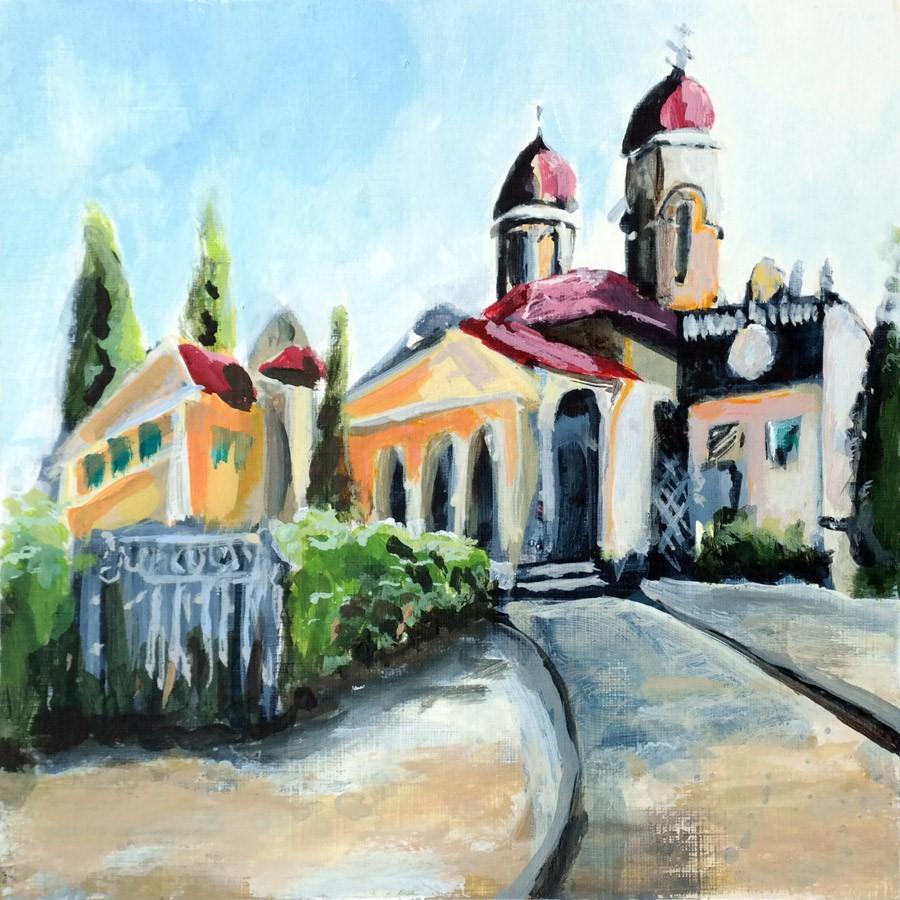 """2865 Montselice Chapel"" original fine art by Dietmar Stiller"