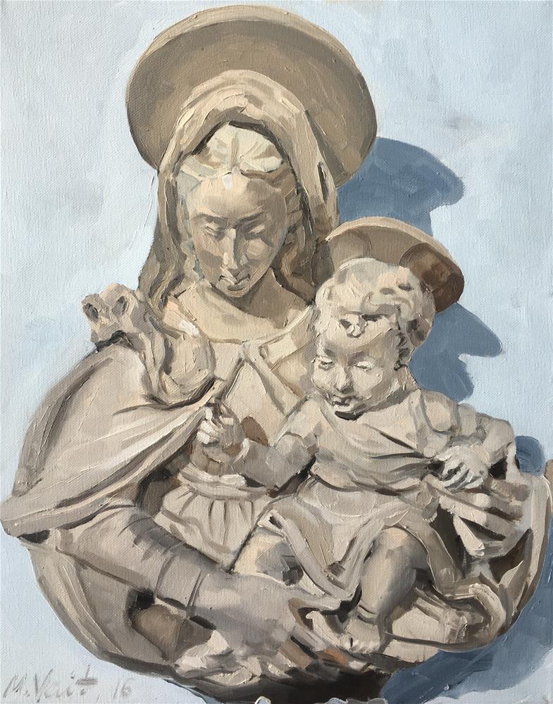"""Madonna and Child"" original fine art by Milda Vaitiekunaite"