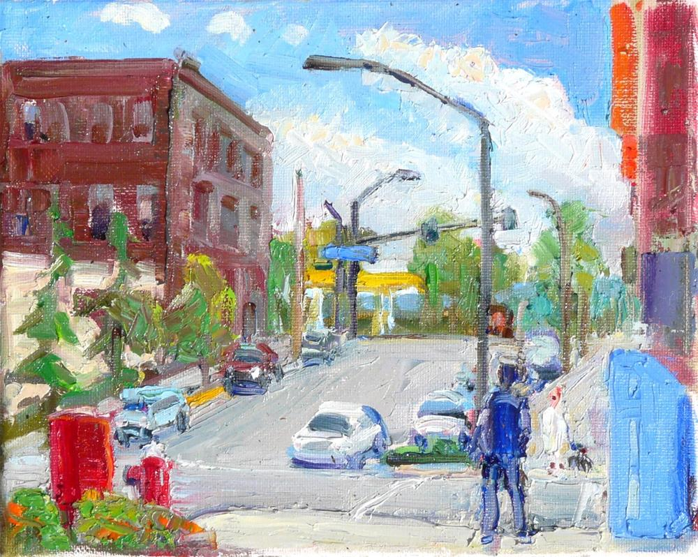 """Downtown Bellingham,cityscape,oil on canvas,8x10,price$225"" original fine art by Joy Olney"