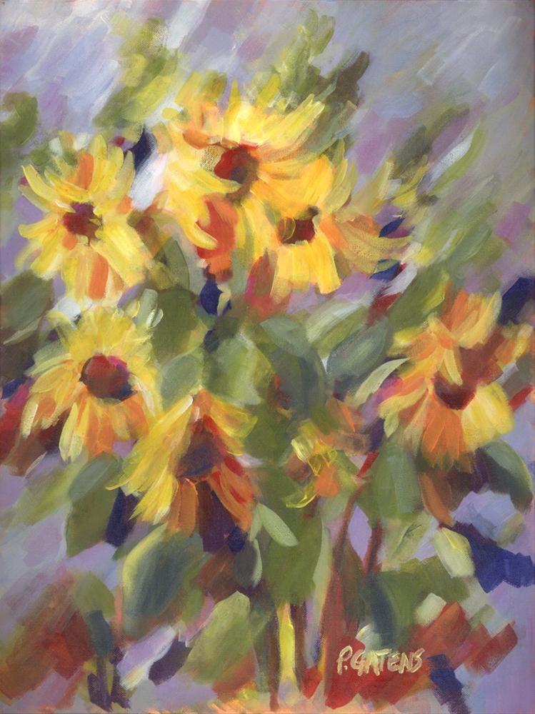 """""""Sunflower Dancers"""" original fine art by Pamela Gatens"""