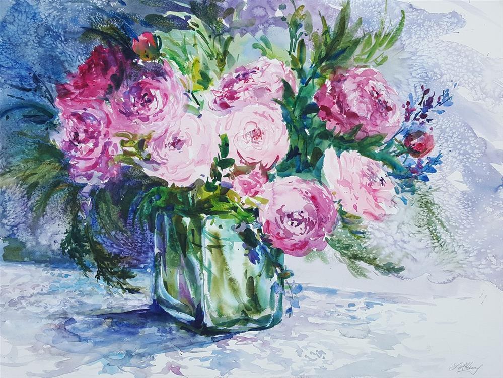 """""""Rhapsody in Pink"""" original fine art by Linda Henry"""