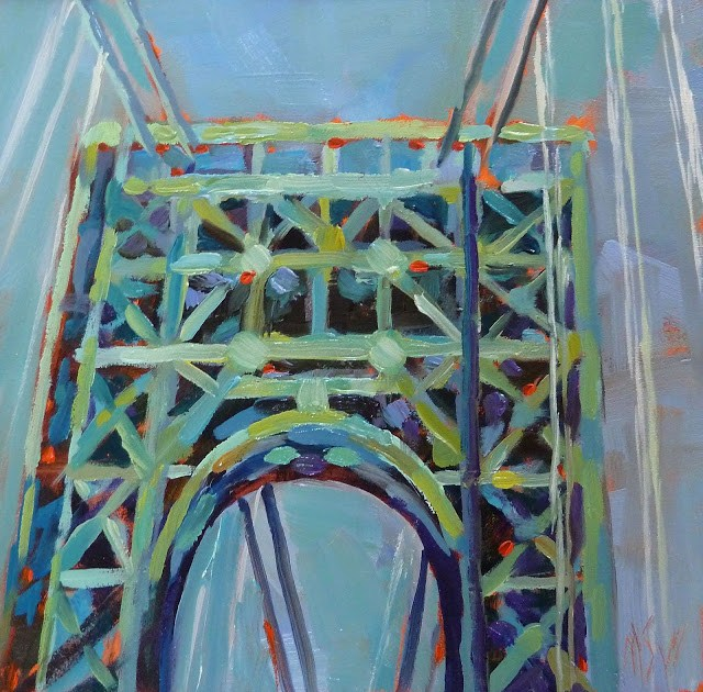 """Drive  By #11 GW Bridge 5x5 oil on panel. I love bridges. This is an arch of the George Washington Bridge in NYC."" original fine art by Mary Sheehan Winn"