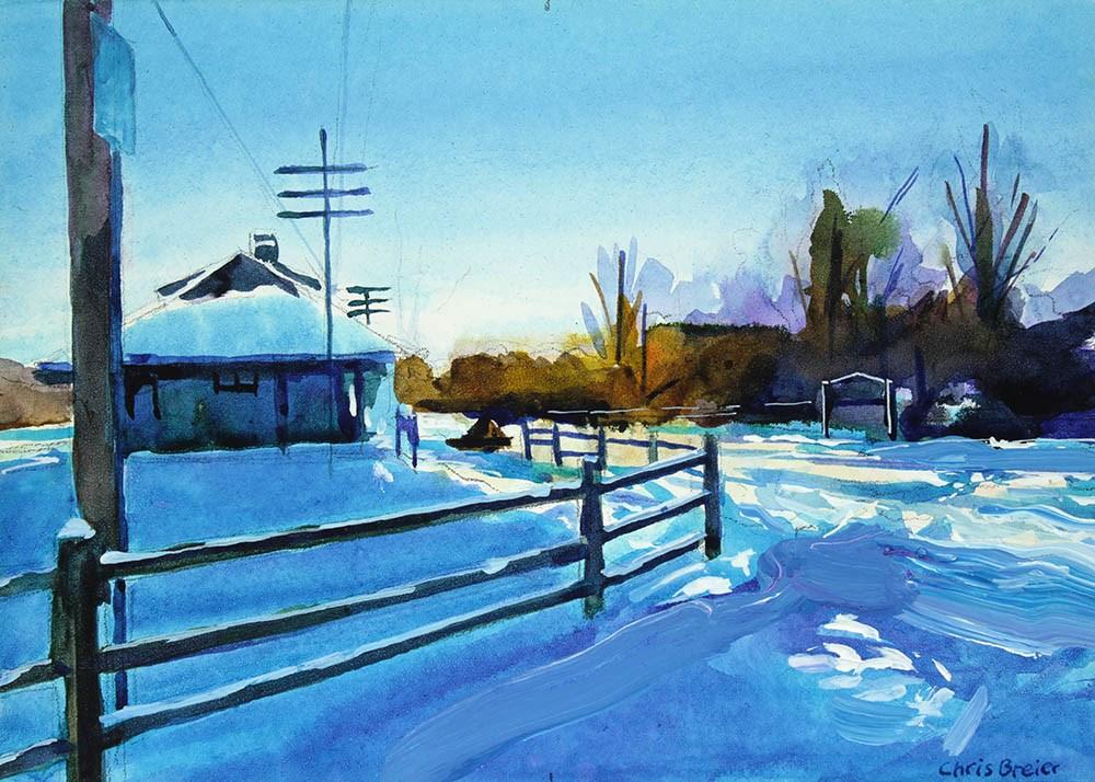 """""""Williamsville Train Depot in Winter"""" original fine art by Chris Breier"""
