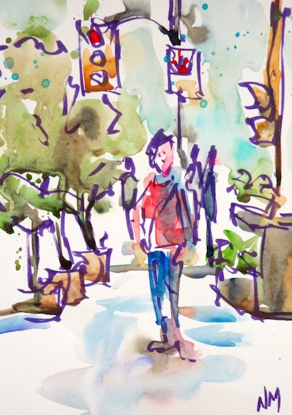"""afternoon stroll"" original fine art by Nora MacPhail"