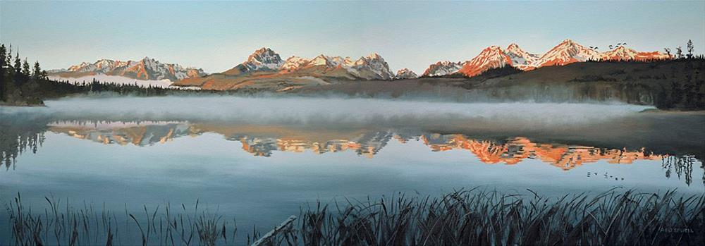 """Sawtooth Morning Mist (little Redfish Lake)"" original fine art by Andy Sewell"