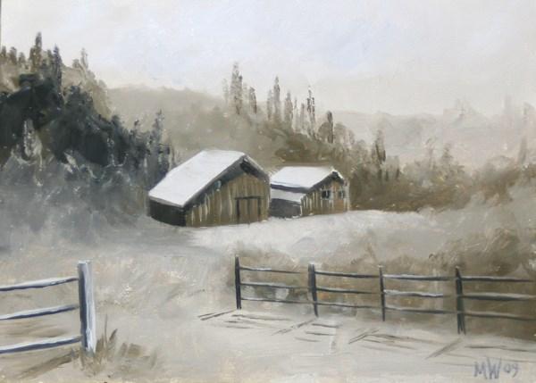 """""""Mark Adam Webster - Foothill Barn Landscape - Black and White Landscape Oil Painting"""" original fine art by Mark Webster"""