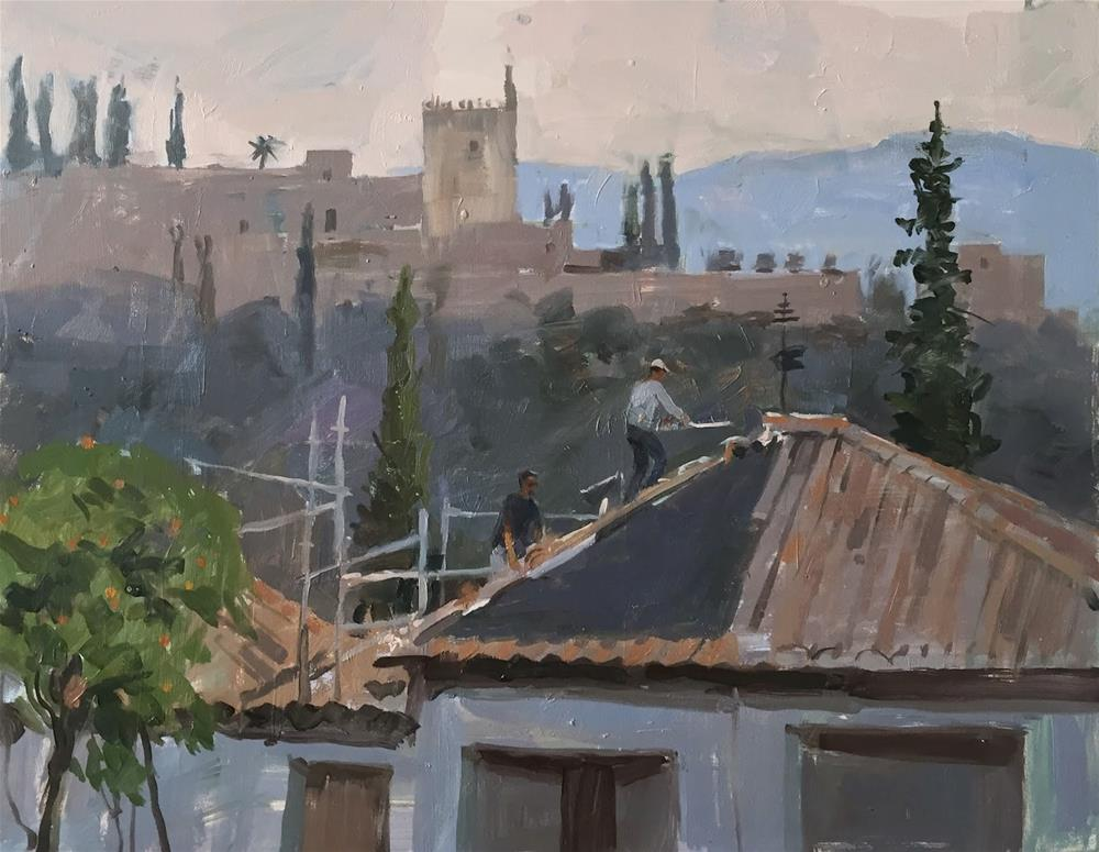 """""""Roof with a view"""" original fine art by Haidee-Jo Summers ROI"""