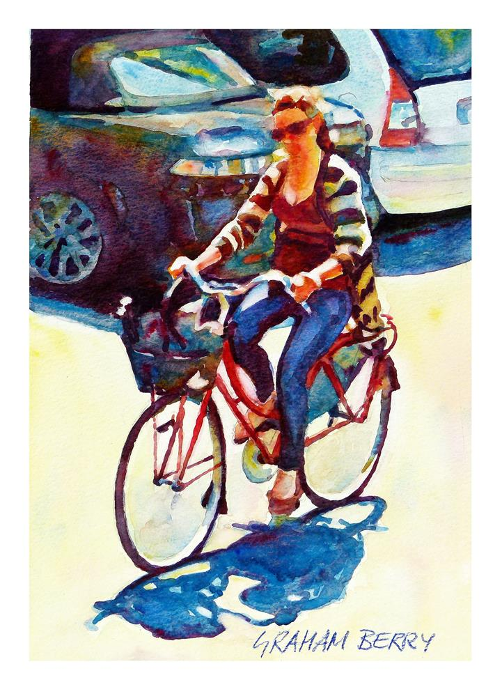 """""""Cycling to lunch."""" original fine art by Graham Berry"""