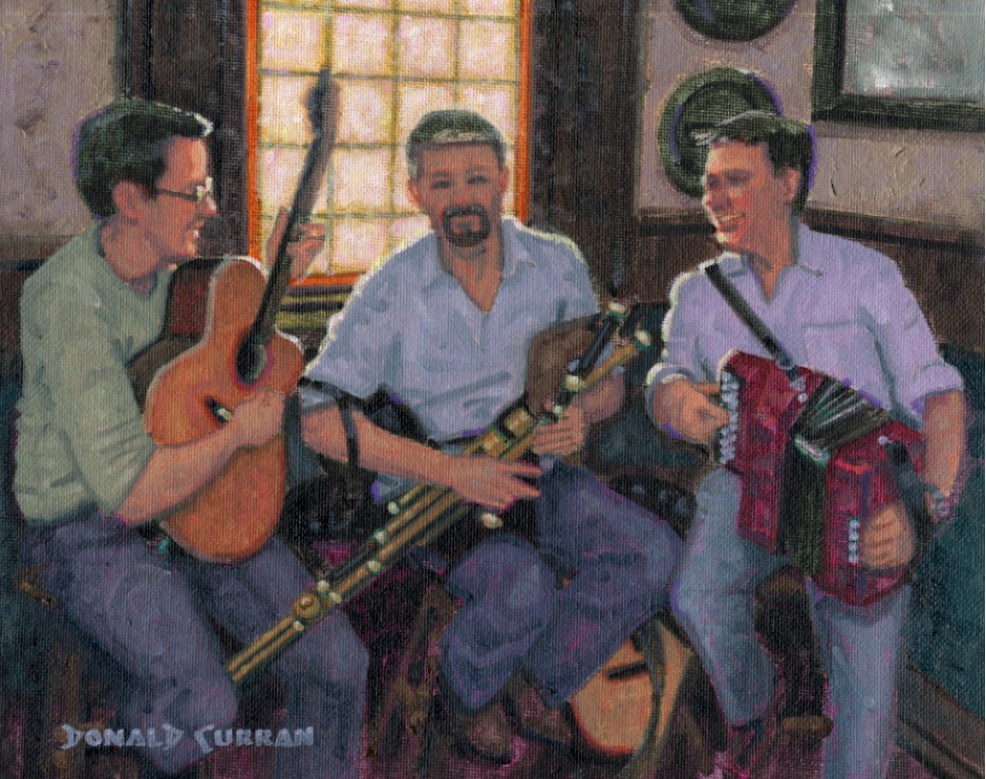 """Fun at the Pub"" original fine art by Donald Curran"