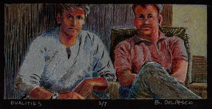 """Linocut: Dualities"" original fine art by Belinda Del Pesco"