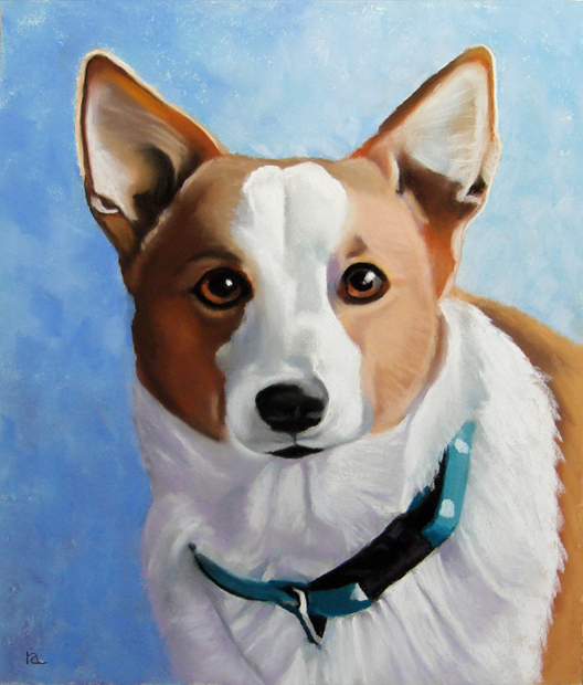 """Lucy the corgi"" original fine art by Ria Hills"