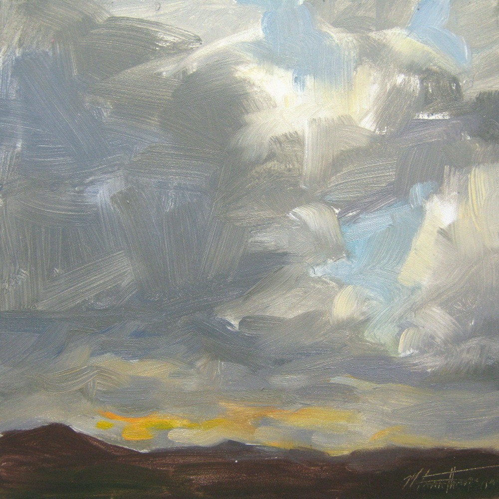 """Almost Sunset - Cloud Painting"" original fine art by Melanie Thompson"