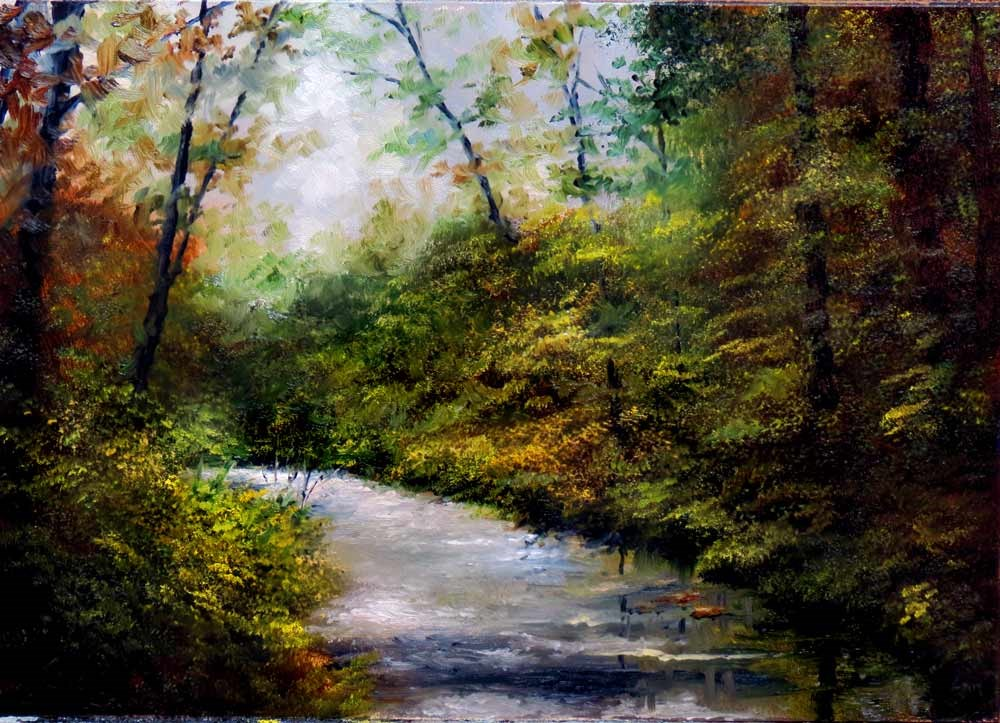 """""""A River in the Woods"""" original fine art by Bob Kimball"""