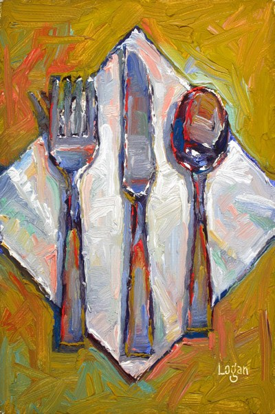 """The Flatware"" original fine art by Raymond Logan"