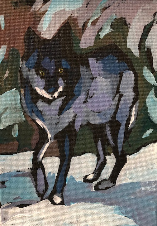 """Wolf Pose"" original fine art by Kat Corrigan"