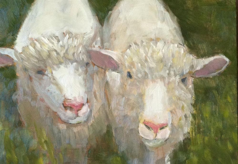 """""""Two Little Lambs"""" original fine art by Katharine March"""