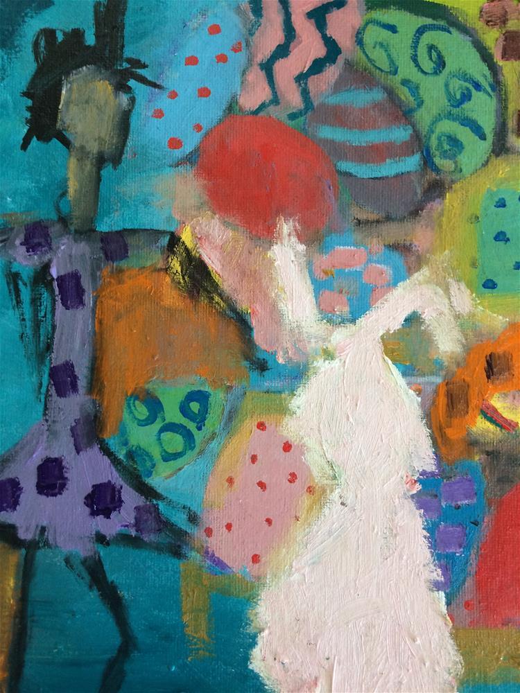 """THe bunny chooses wallpaper"" original fine art by pamela kish"