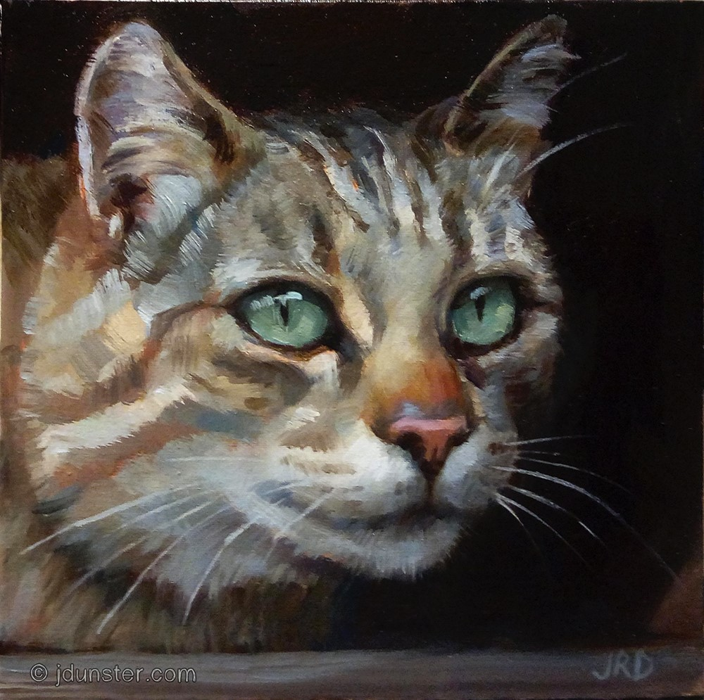 """Tabby in Shadow"" original fine art by J. Dunster"