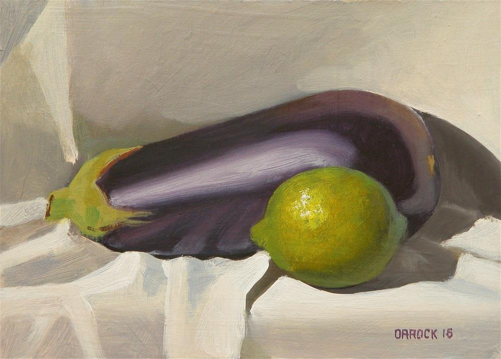 """""""Lime and abergine"""" original fine art by Peter Orrock"""