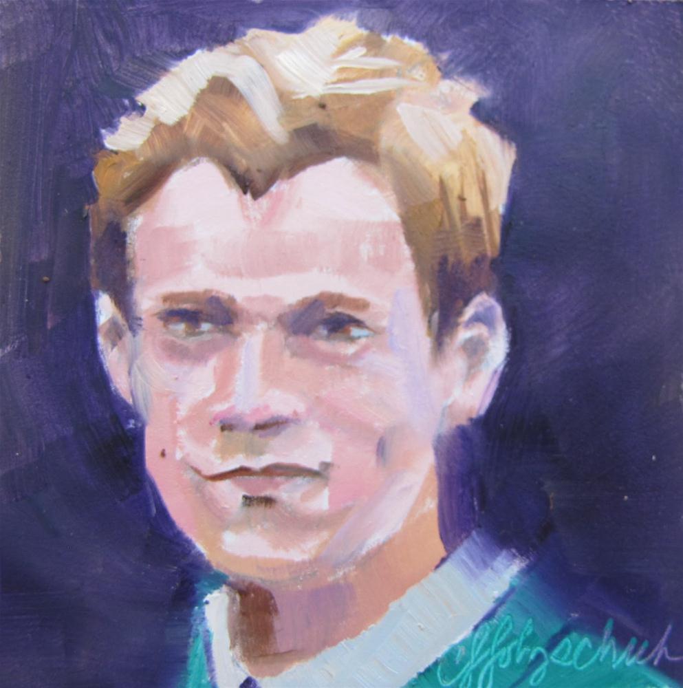 """Topher   4x4 oil portrait sold"" original fine art by Christine Holzschuh"