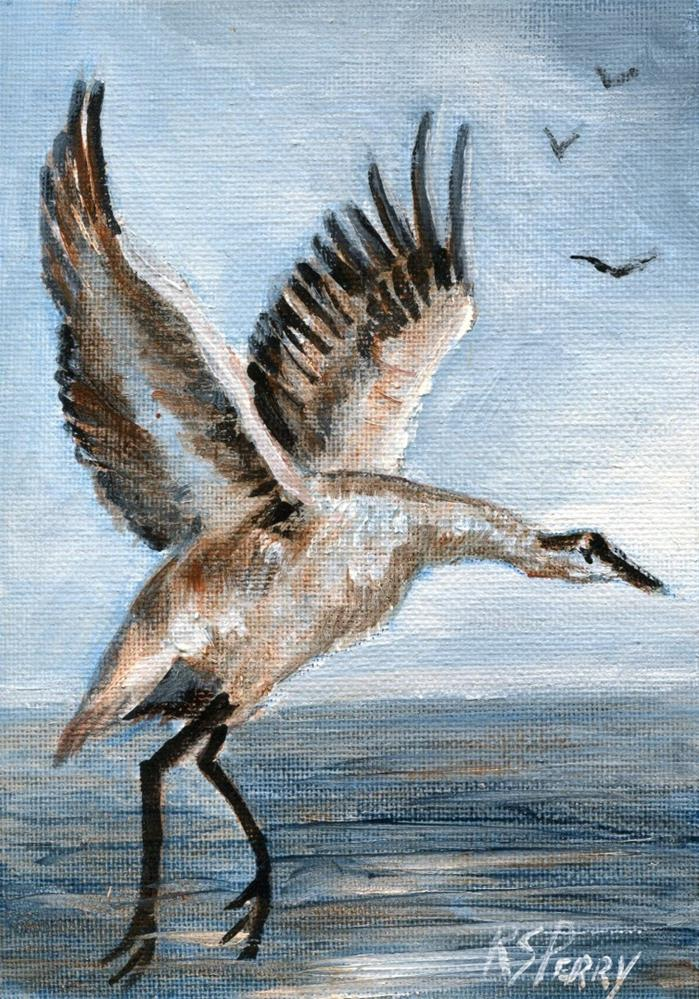 """Water Bird, Possible Crane or Heron"" original fine art by R. S. Perry"