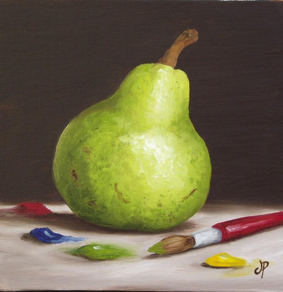 """Painting my Pear"" original fine art by Jane Palmer"
