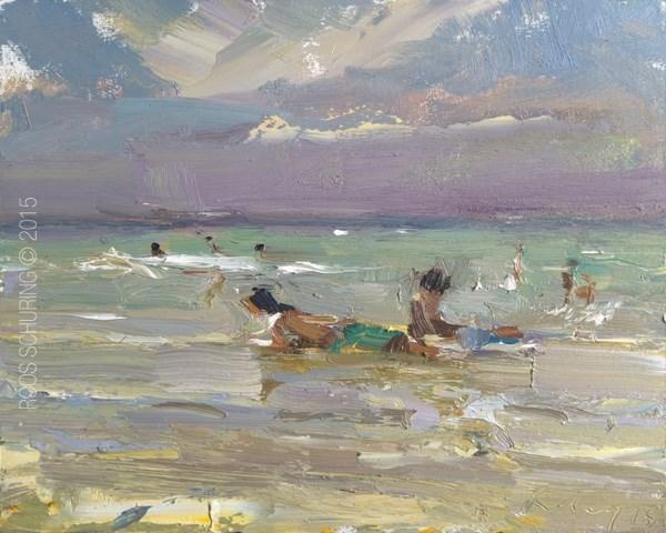 """Beach Painting Ocean, Rain Approaching and Kids"" original fine art by Roos Schuring"