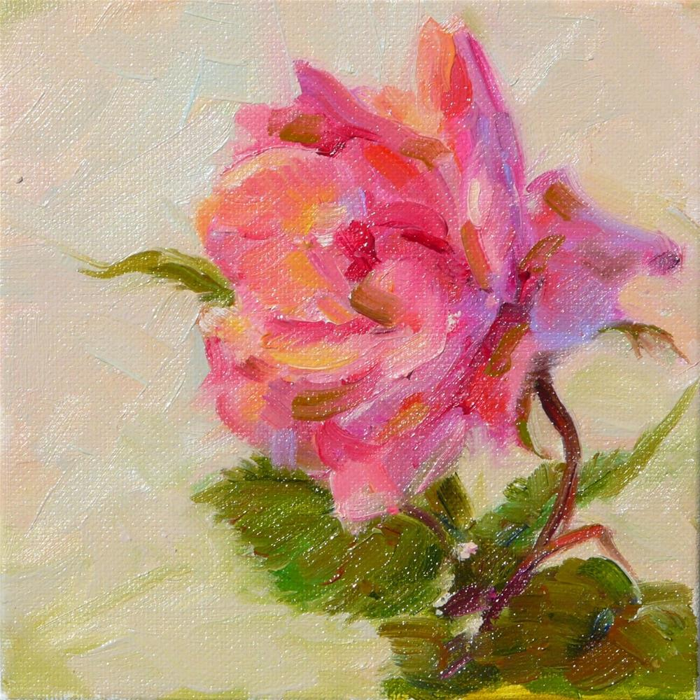 """""""First Rose of May,stil life,oil on canvas,6x6,price$200"""" original fine art by Joy Olney"""