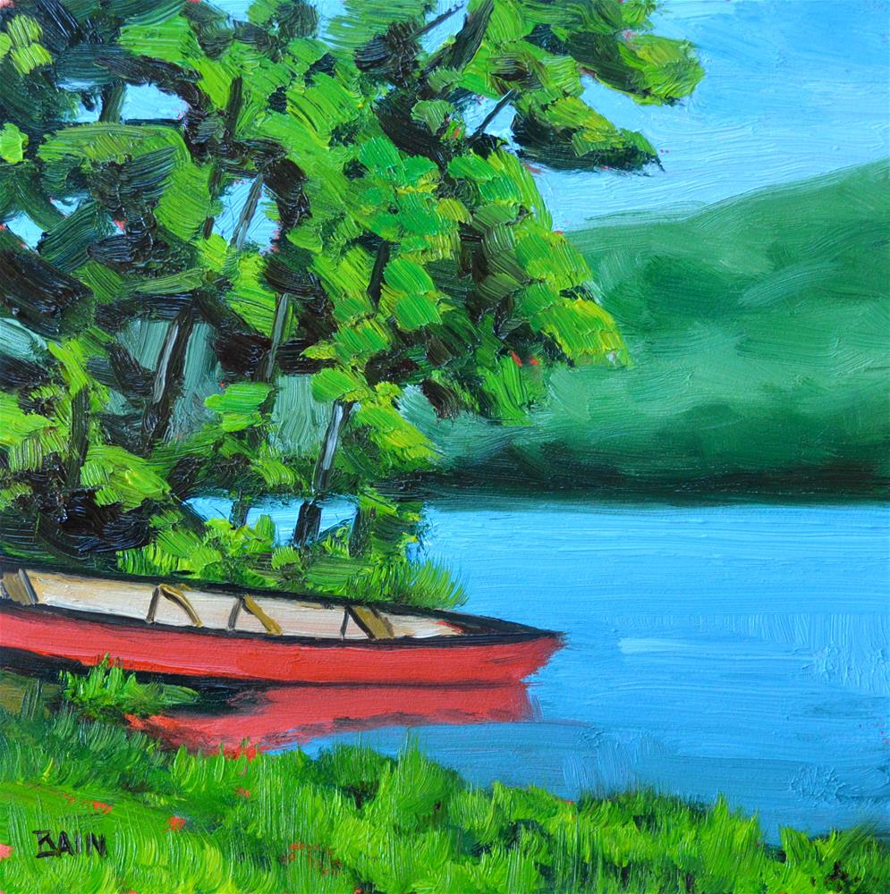 """Red Canoe"" original fine art by Peter Bain"