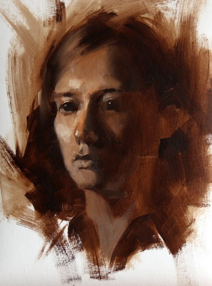 """Head Study 051415"" original fine art by Qiang Huang"