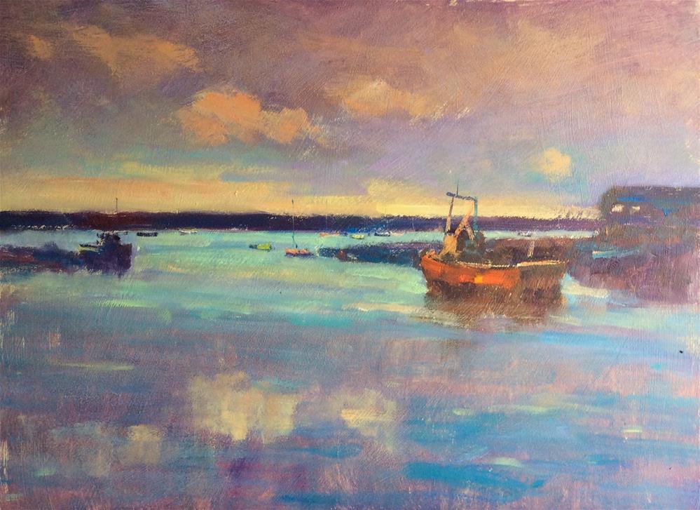 """Sunset Felixstowe Ferry "" original fine art by John Shave"