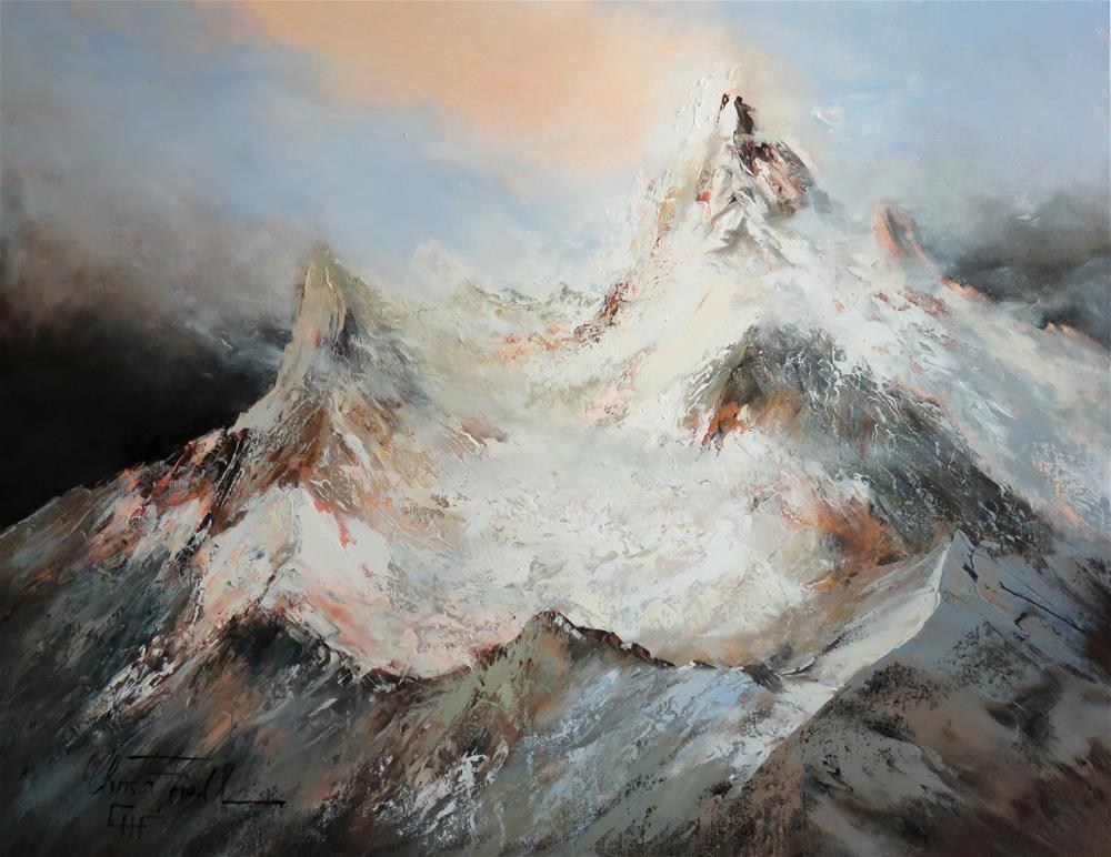 """""""First Snow in the Alps"""" original fine art by Christa Friedl"""