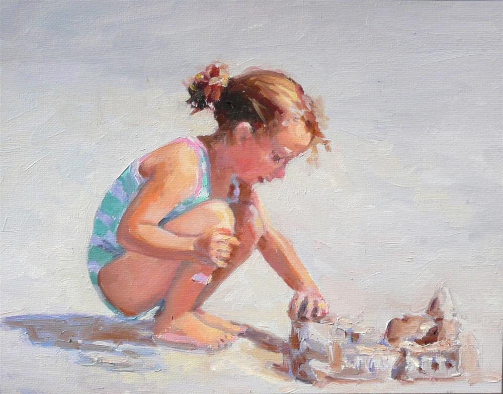 """Sand Castle,figure,oil on canvas,8x10,price$700"" original fine art by Joy Olney"