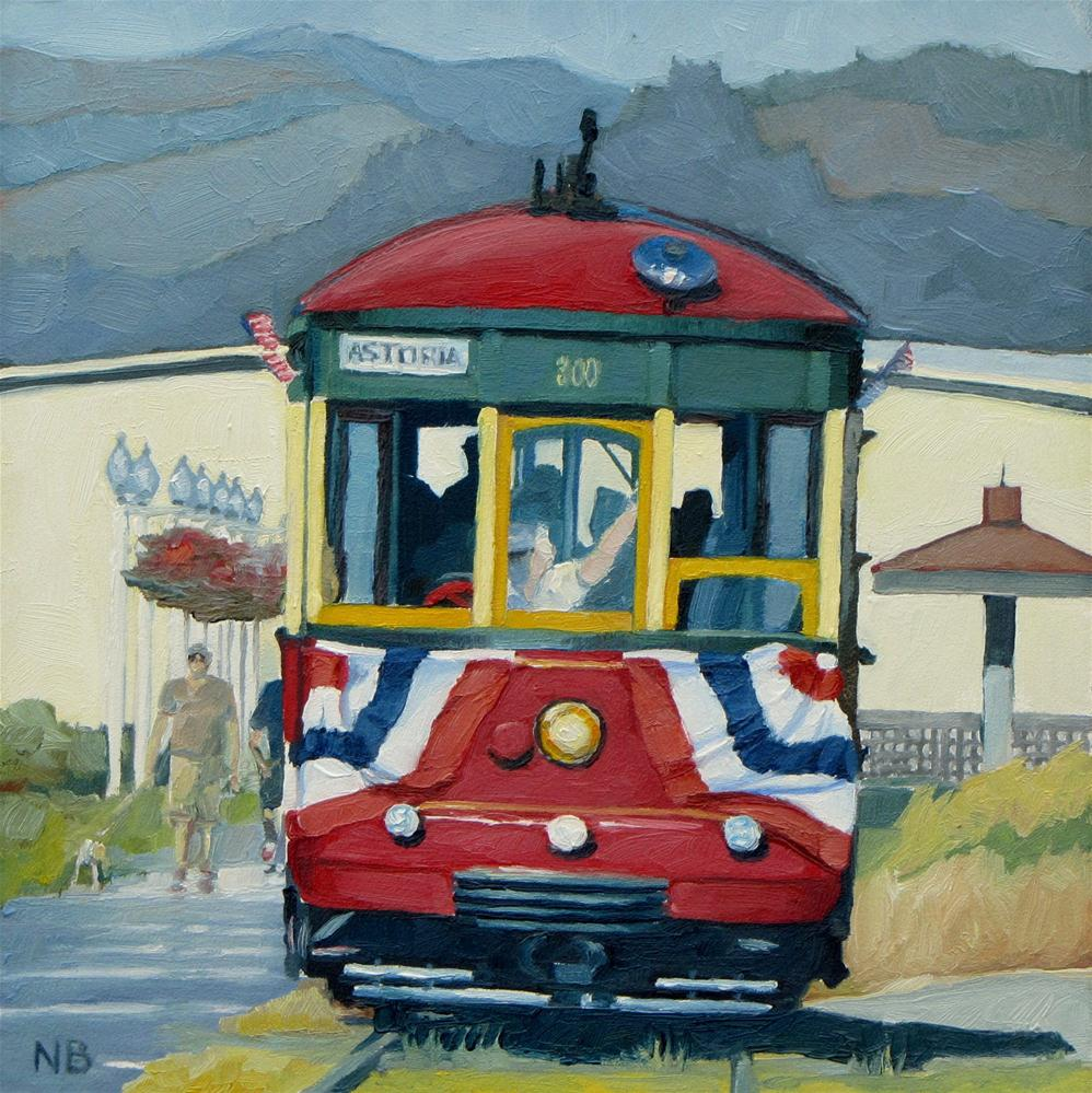 """Astoria Trolley"" original fine art by Nora Bergman"