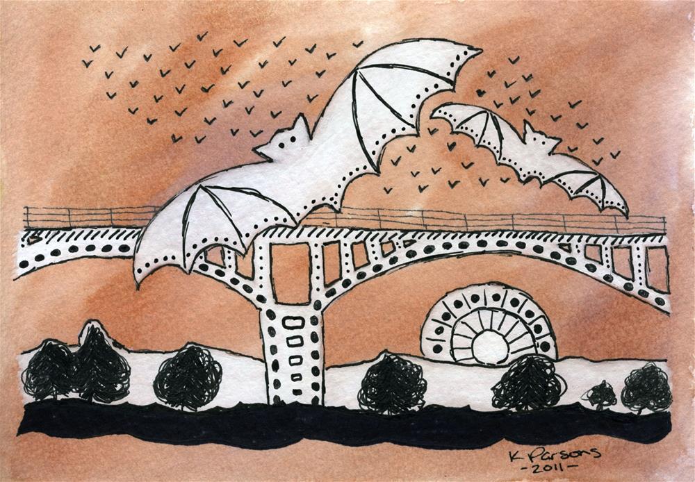 """Congress Avenue Bats... Austin, Texas"" original fine art by Kali Parsons"