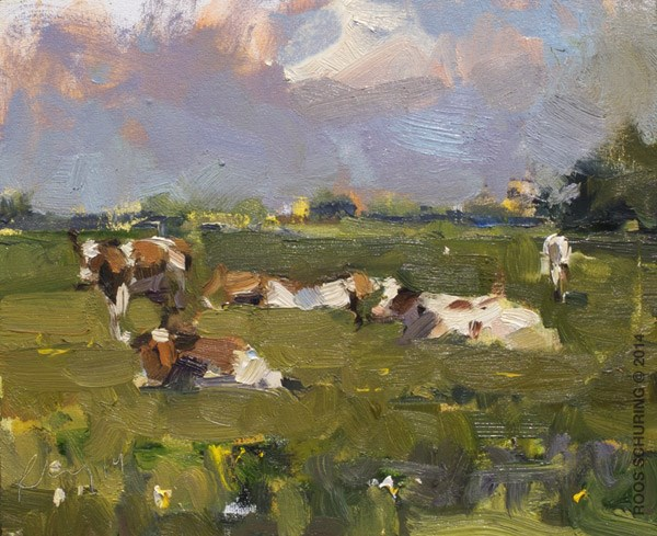 """""""Cows on a Sunny Day"""" original fine art by Roos Schuring"""