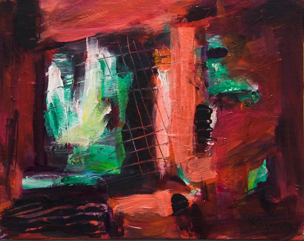 """""""A Window in a Red Wall"""" original fine art by Yulia Kazansky"""