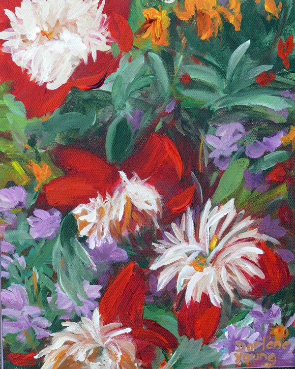 """Peonies, 8x10, acrylic"" original fine art by Darlene Young"