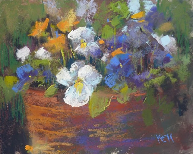 """A Lesson from a Pot of Pansies"" original fine art by Karen Margulis"