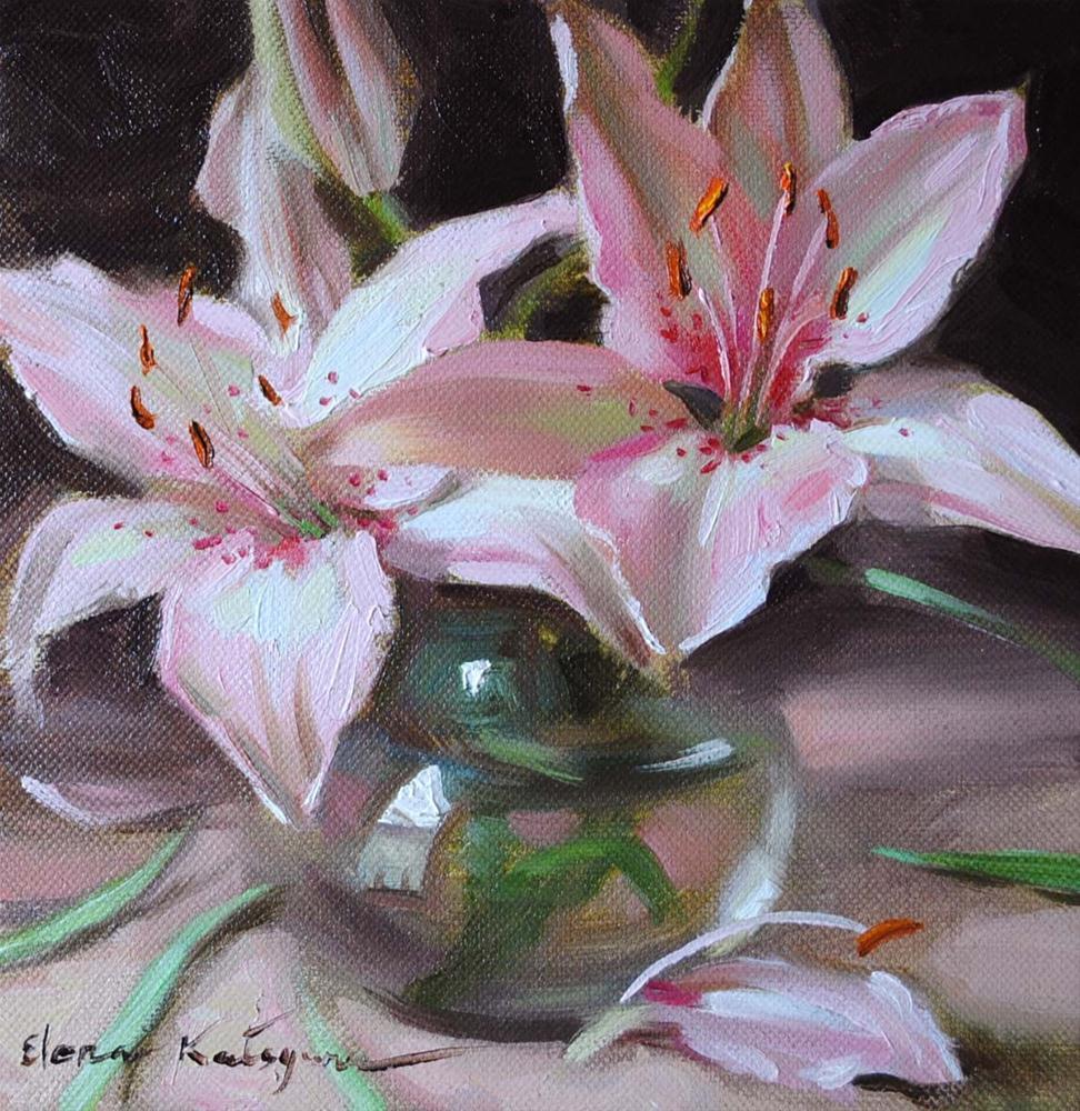 """Lilies in Vase"" original fine art by Elena Katsyura"