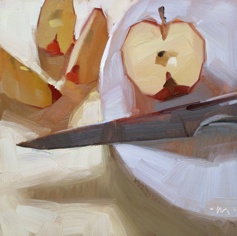 """Apple Divided"" original fine art by Carol Marine"