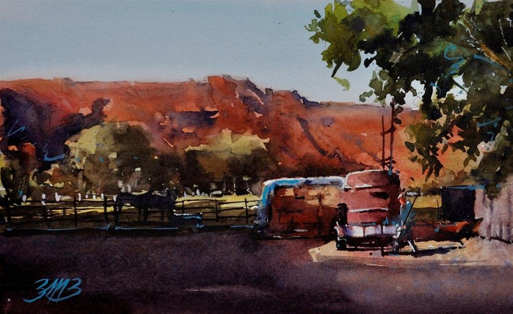 """""""Evening at the Ranch Study"""" original fine art by Brienne M Brown"""