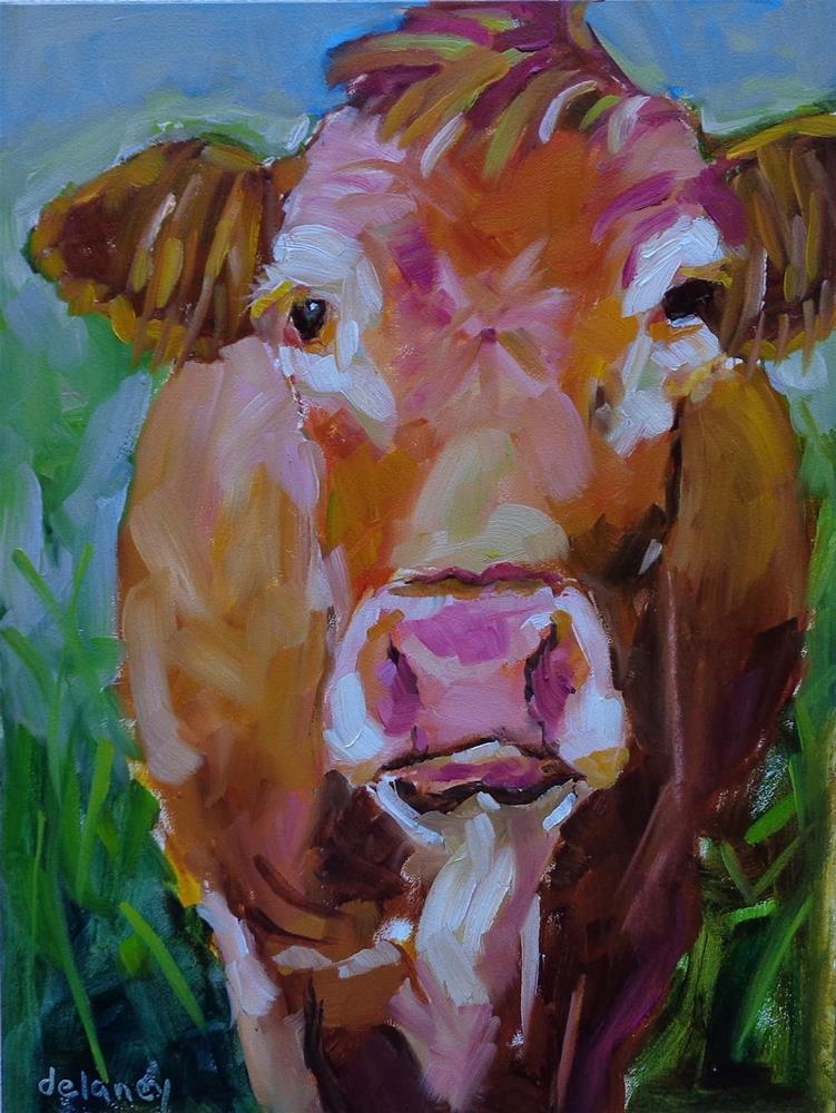 """Cow 115 LIVING IN PARADISE"" original fine art by Jean Delaney"