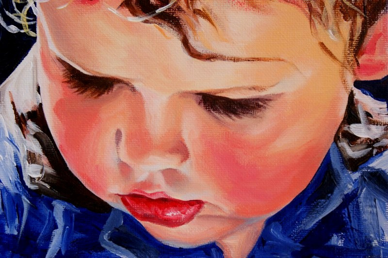 """Long Lashes and Soft Cheeks"" original fine art by Crystal Cook"